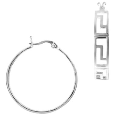 jcpenney.com | Silver-Plated Greek Key Hoop Earrings