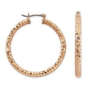 Monet® Large Gold-Tone Diamond Cut Hoop Earrings