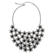 Decree® Hematite Flower Bib Statement Necklace