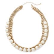 Decree® Gold-Tone Simulated Pearl Bib Necklace