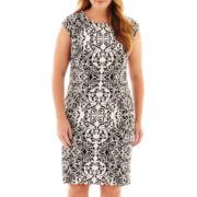 R&K Originals® Cap-Sleeve Mirror Print Sheath Dress - Plus