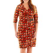 Robbie Bee® 3/4-Sleeve Buckle Wrap Dress - Plus