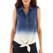 Levi's® Sleeveless Tie-Front Dip-Dyed Chambray Shirt