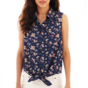 Levi's® Sleeveless Tie-Front Print Denim Shirt
