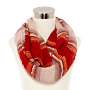 Striped Ruched Infinity Scarf