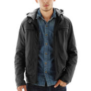 Excelled® Faux-Leather Moto Jacket with Hood