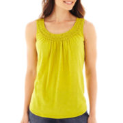 St. John's Bay® Sleeveless Smocked Top