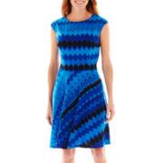 R&K Originals® Cap-Sleeve Print Fit-and-Flare Dress