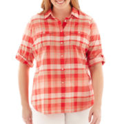 St. John's Bay® Roll-Sleeve Button-Front Campshirt - Plus