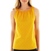 Worthington® Sleeveless Shirred-Neck Top