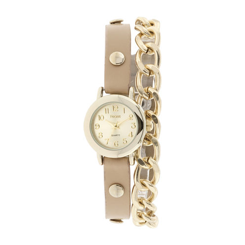 Decree® Womens Ivory Strap and Chain-Link Wrap Watch