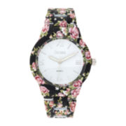 Decree® Womens Black Floral Print Strap Bracelet Watch
