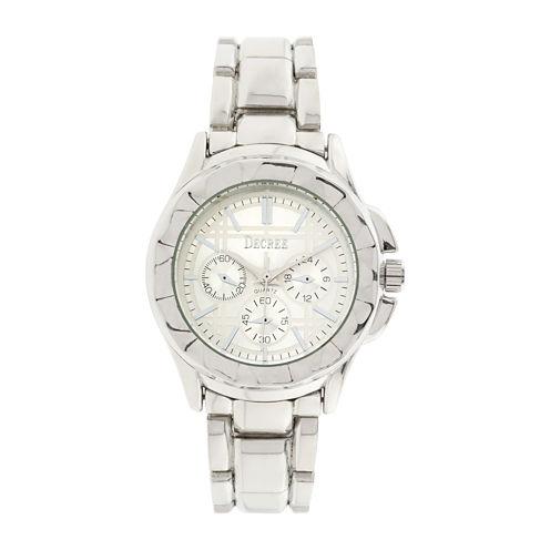 Decree® Womens Multifunction-Look Silver-Tone Bracelet Watch