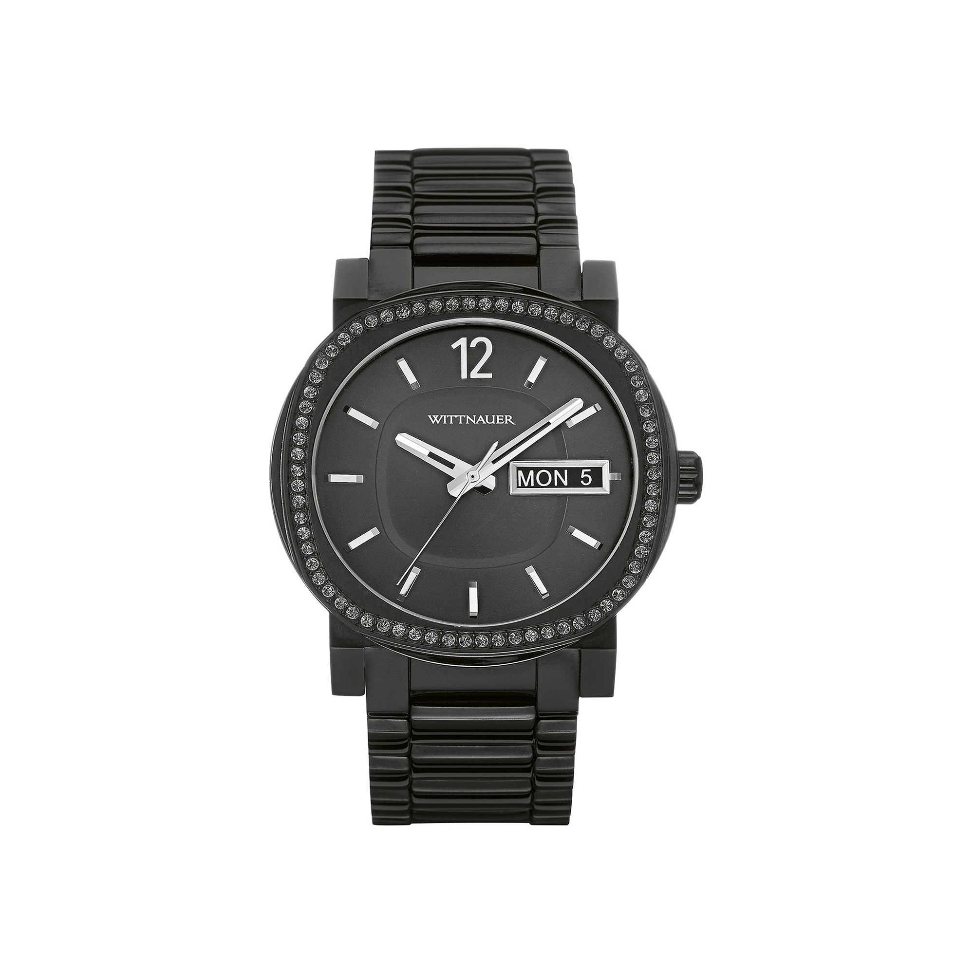 Wittnauer Mens Crystal-Accent Black Stainless Steel Watch WN3050