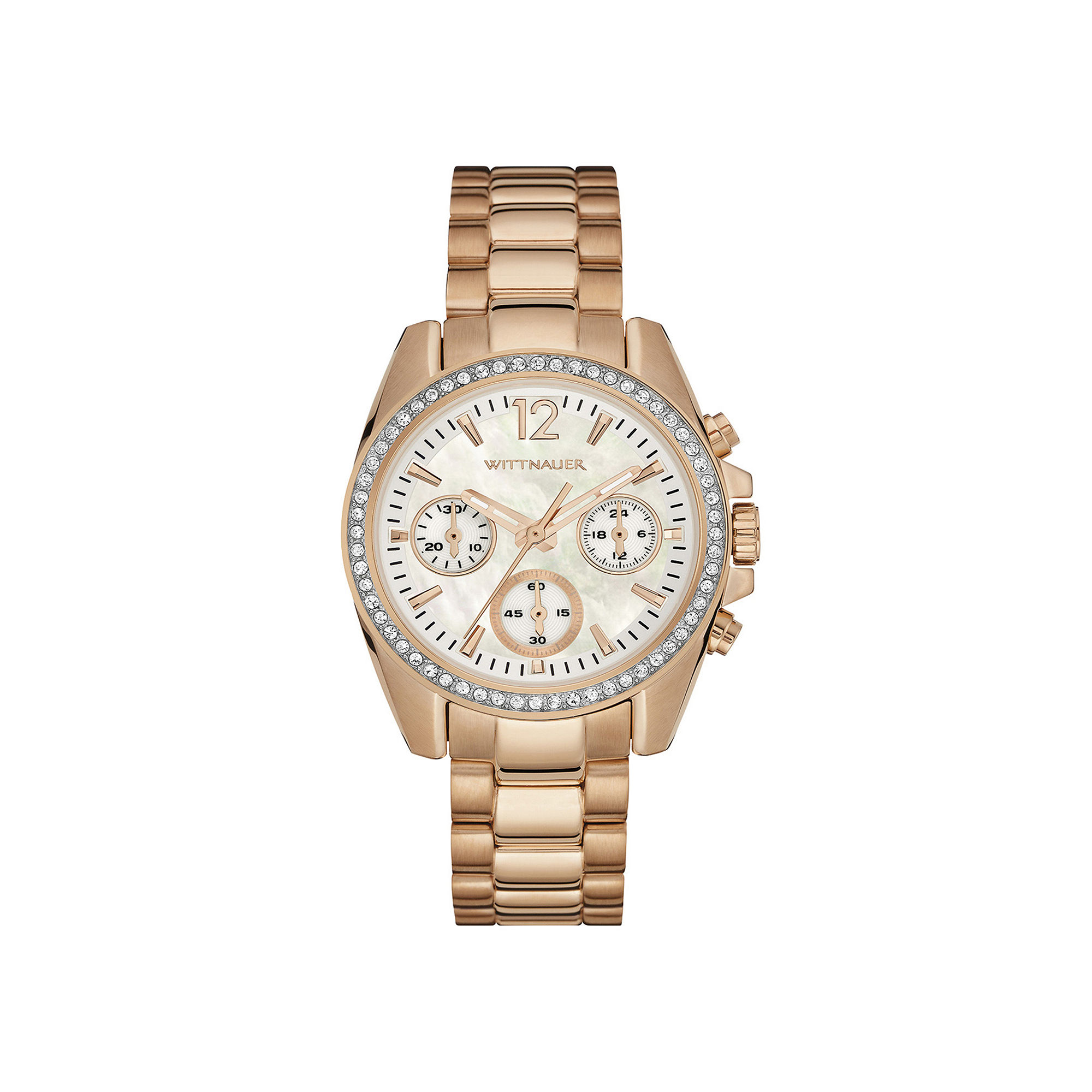 Wittnauer Womens Crystal-Accent Rose-Tone Stainless Steel Bracelet Watch WN4073