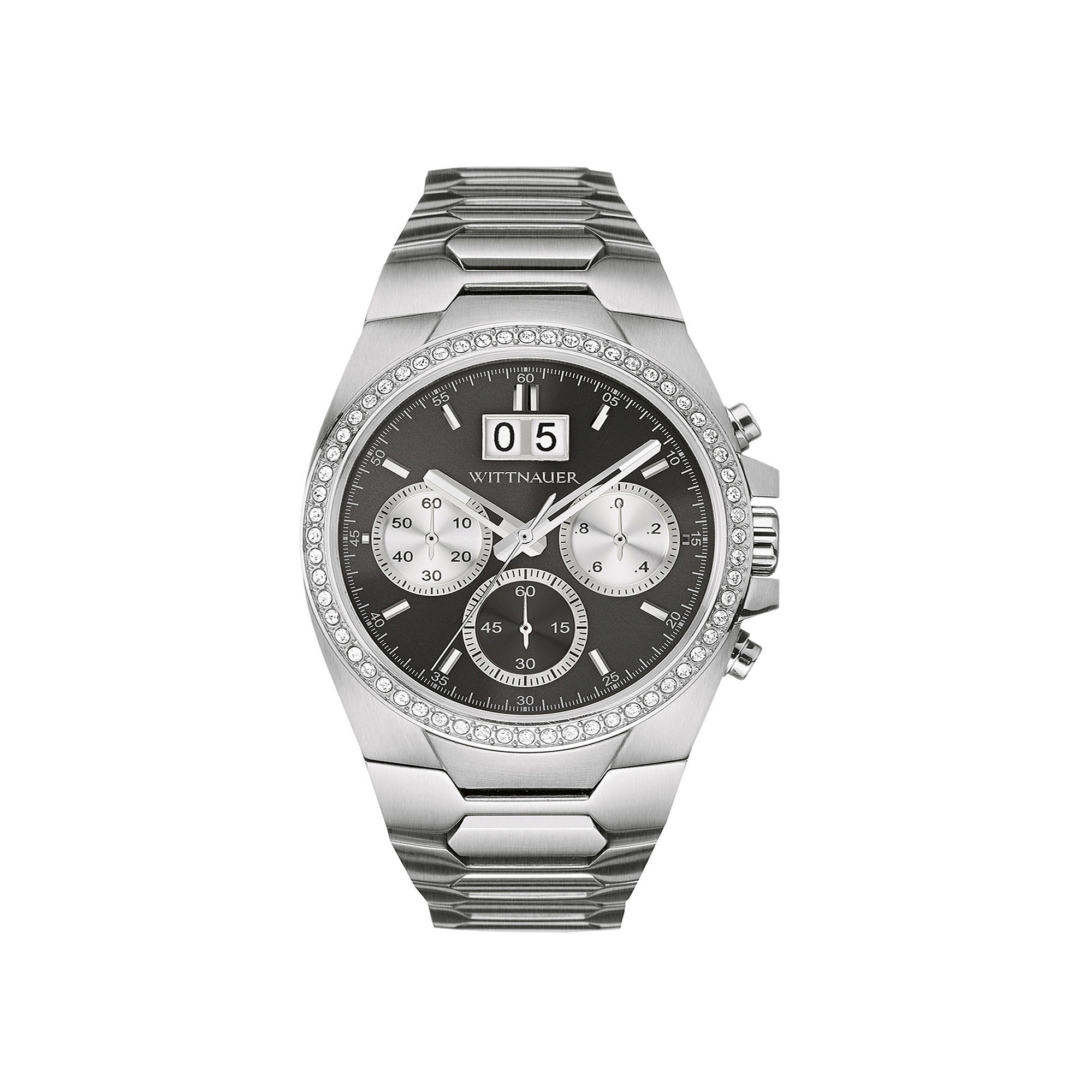 Wittnauer Mens Crystal-Accent Gunmetal Dial Stainless Steel Watch WN3049