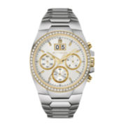 Wittnauer® Mens Crystal-Accent White Dial Stainless Steel Watch WN3047