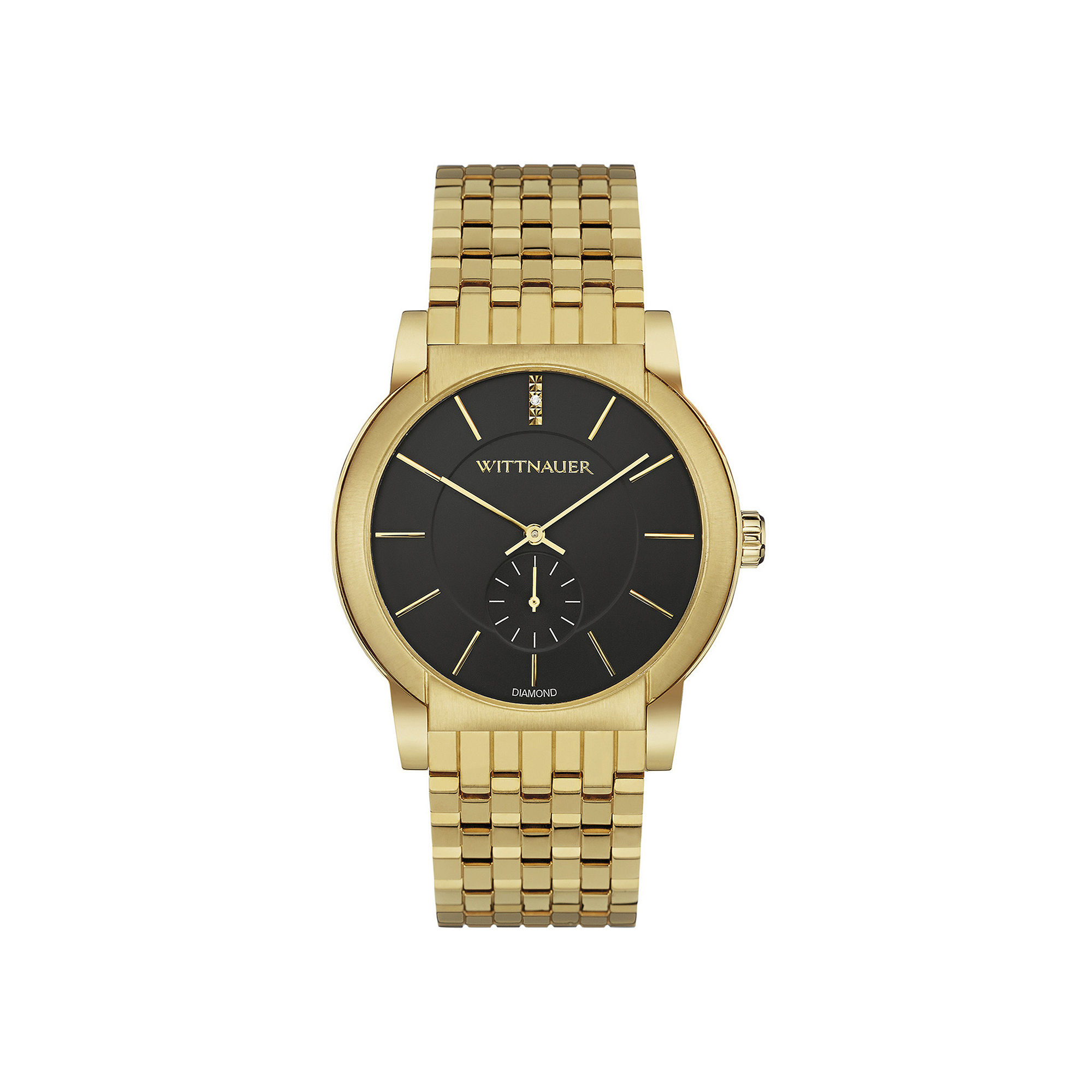 Wittnauer Mens Diamond-Accent Black Dial Gold-Tone Stainless Steel Watch WN3042
