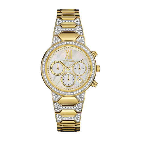Wittnauer® Womens Crystal-Accent Gold-Tone Stainless Steel Bracelet Watch WN4069