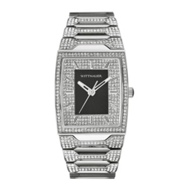 jcpenney.com | Wittnauer® Mens Crystal-Accent Tonneau Black Dial Stainless Steel Watch WN3037