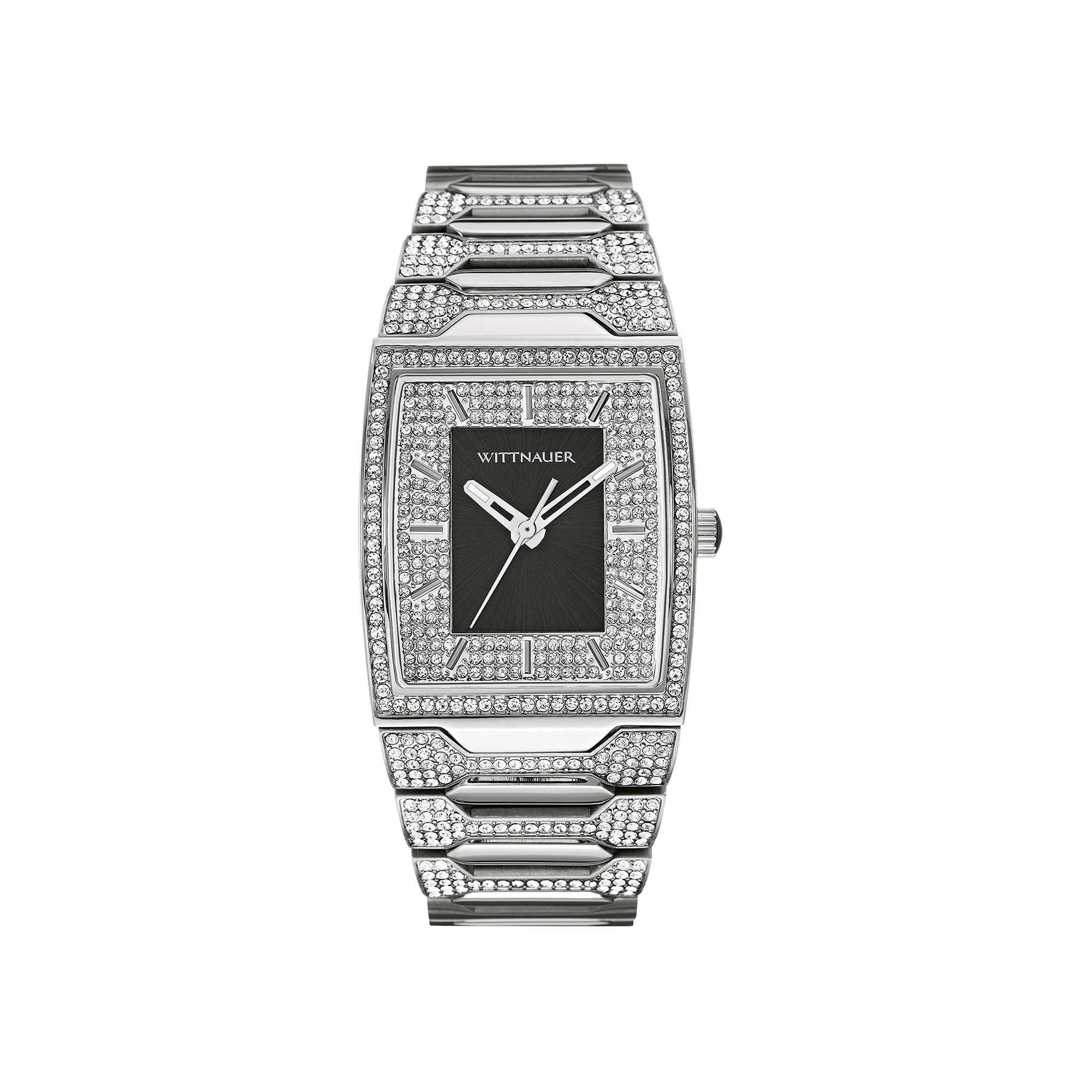 Wittnauer Mens Crystal-Accent Tonneau Black Dial Stainless Steel Watch WN3037