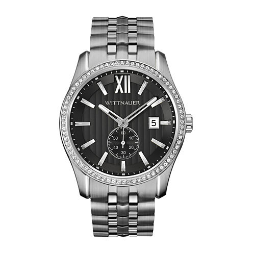 Wittnauer® Mens Crystal-Accent Stainless Steel Watch WN3031