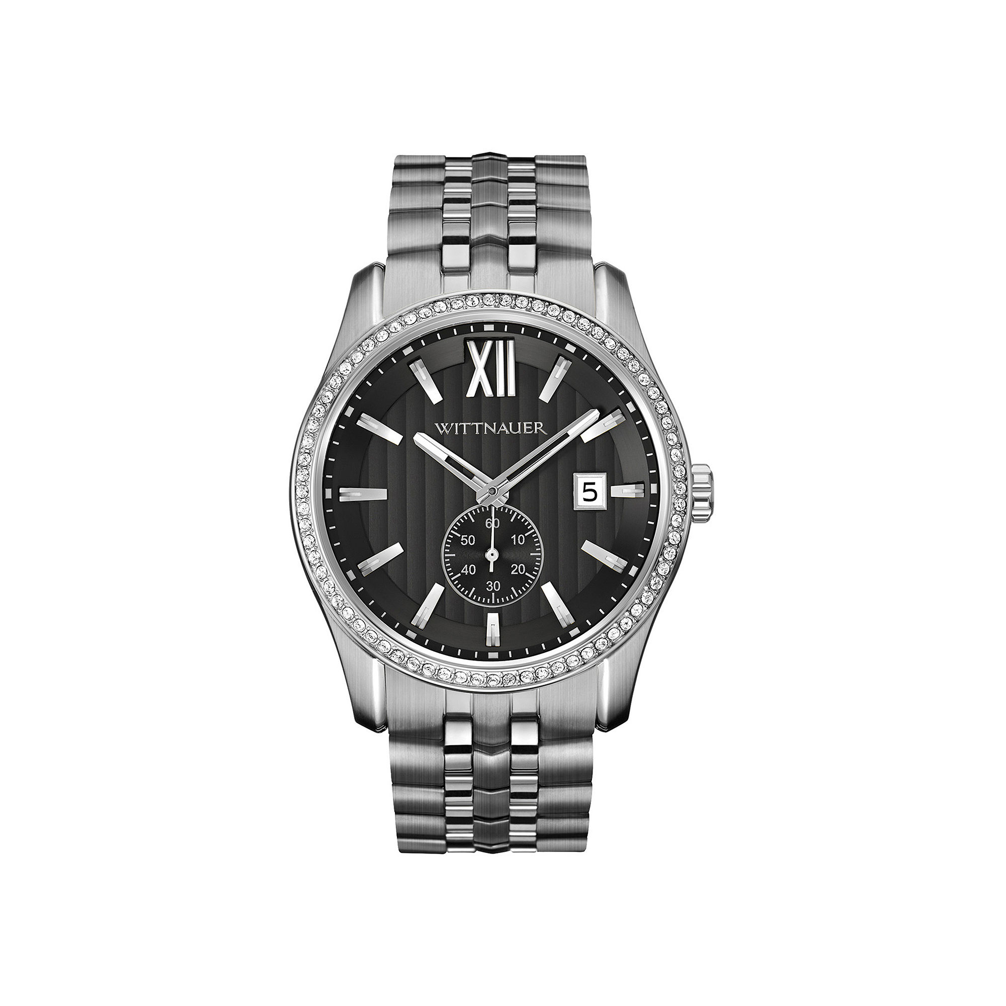 Wittnauer Mens Crystal-Accent Stainless Steel Watch WN3031