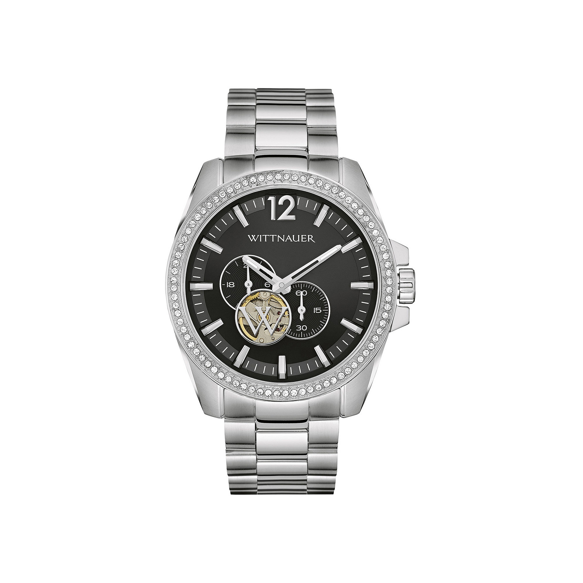 Wittnauer Mens Crystal-Accent Stainless Steel Automatic Watch WN3029