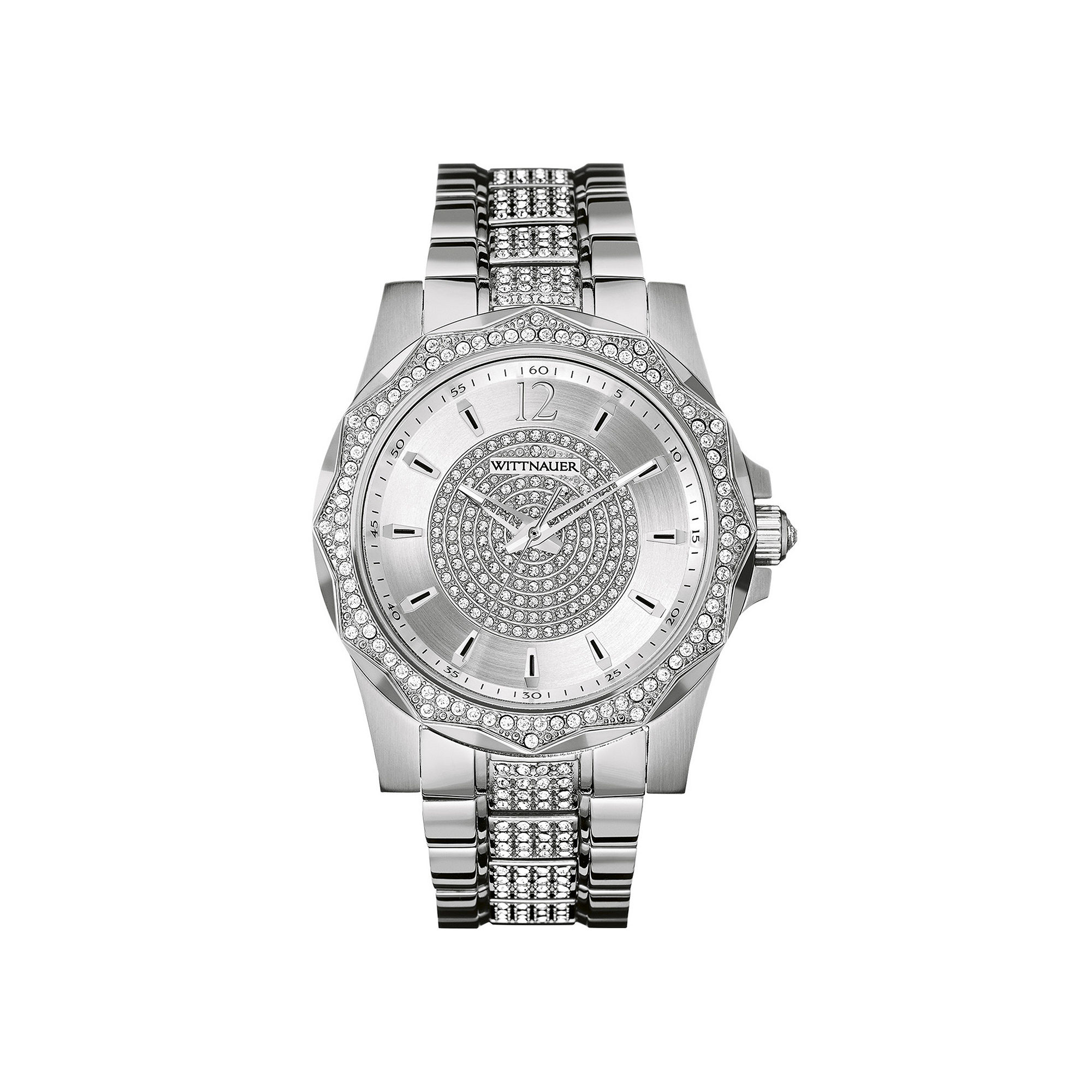 Wittnauer Mens Crystal-Accent Stainless Steel Watch WN3013