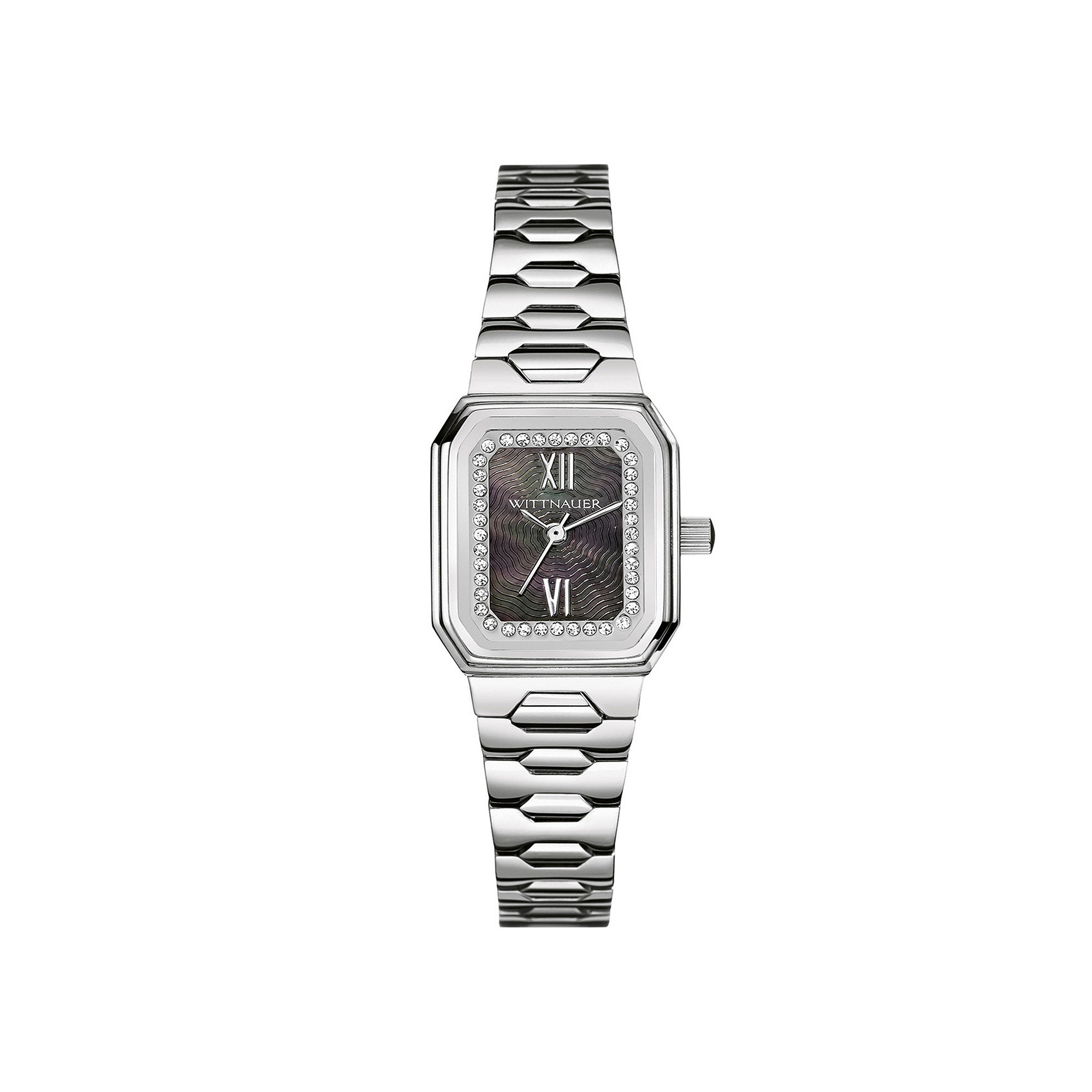 Wittnauer Womens Crystal-Accent Rectangular Stainless Steel Bracelet Watch WN4050