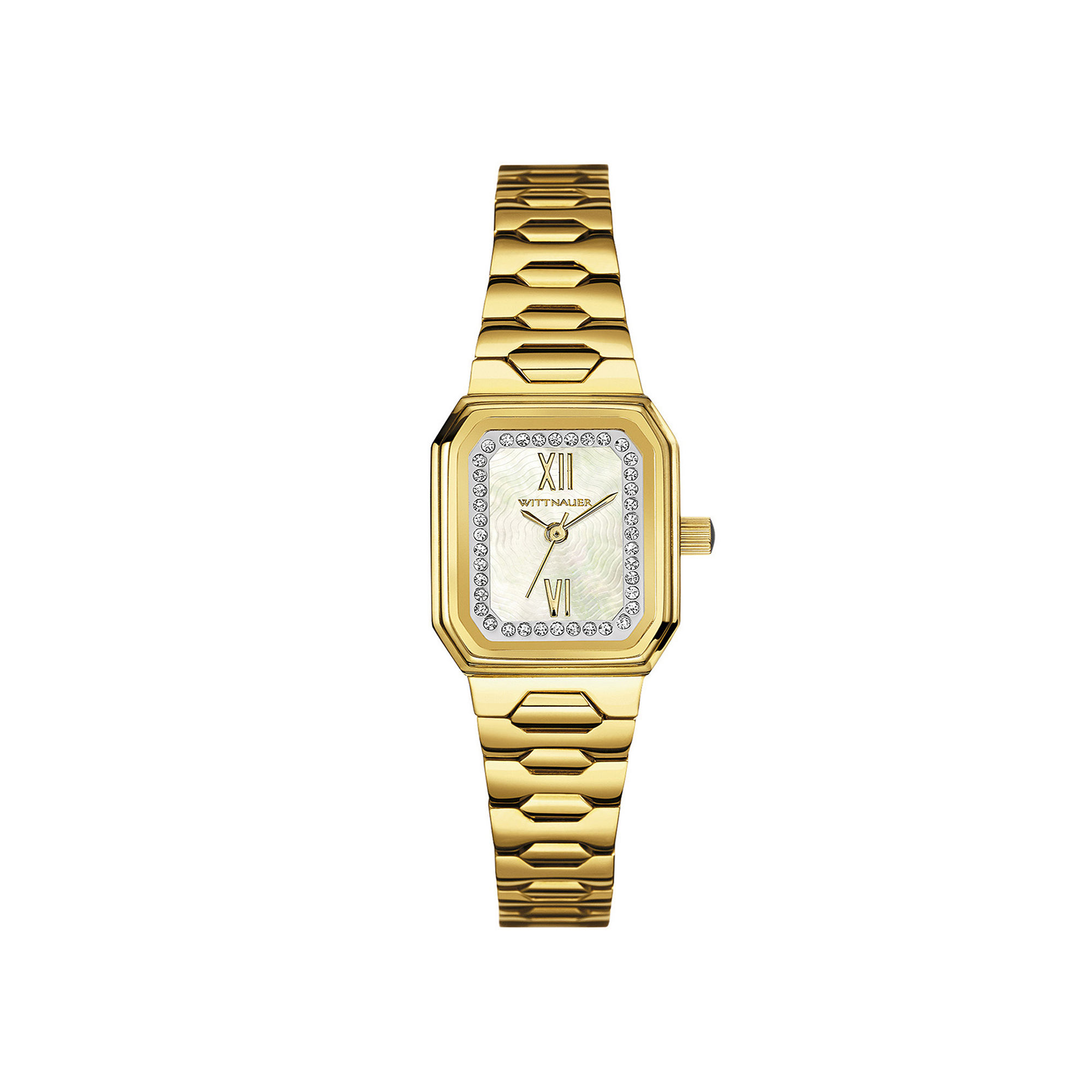 Wittnauer Womens Crystal-Accent Rectangular Gold-Tone Stainless Steel Bracelet Watch WN4051