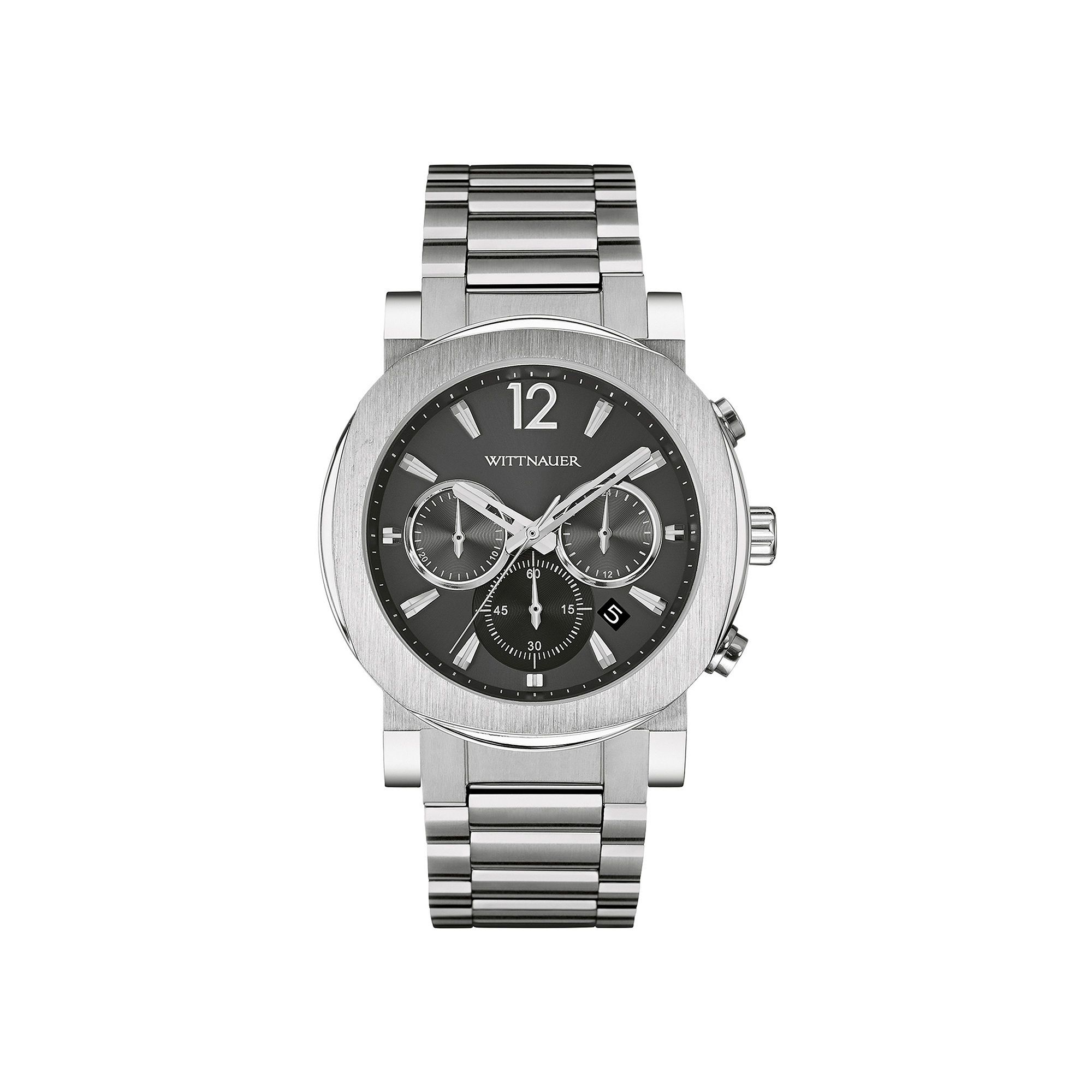Wittnauer Mens Gunmetal Dial Stainless Steel Watch WN3003