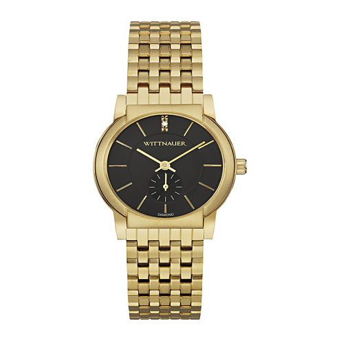 Wittnauer® Womens Diamond-Accent Black Dial Gold-Tone Stainless Steel Bracelet Watch WN4049