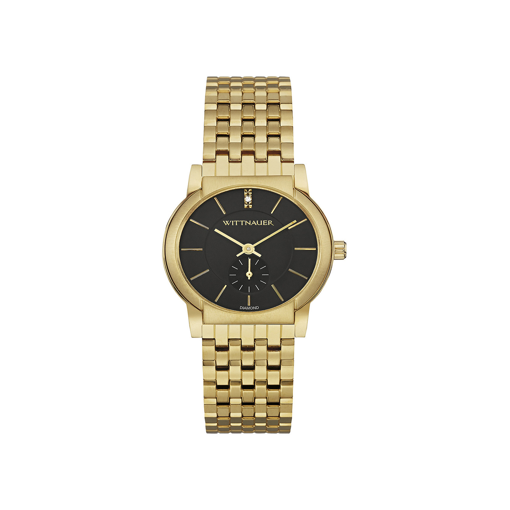 Wittnauer Womens Diamond-Accent Black Dial Gold-Tone Stainless Steel Bracelet Watch WN4049