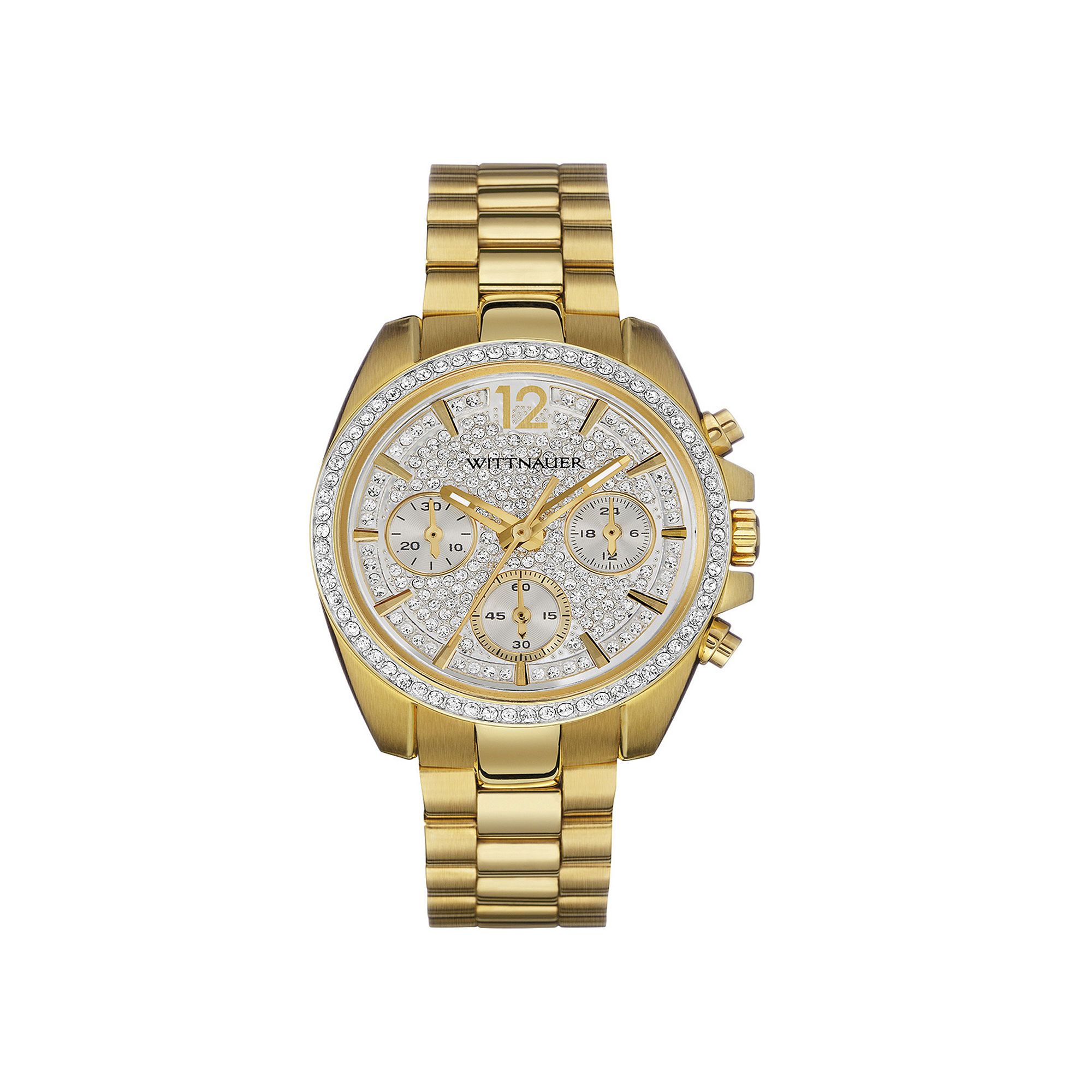 Wittnauer Womens Crystal-Accent Gold-Tone Stainless Steel Bracelet Watch WN4043