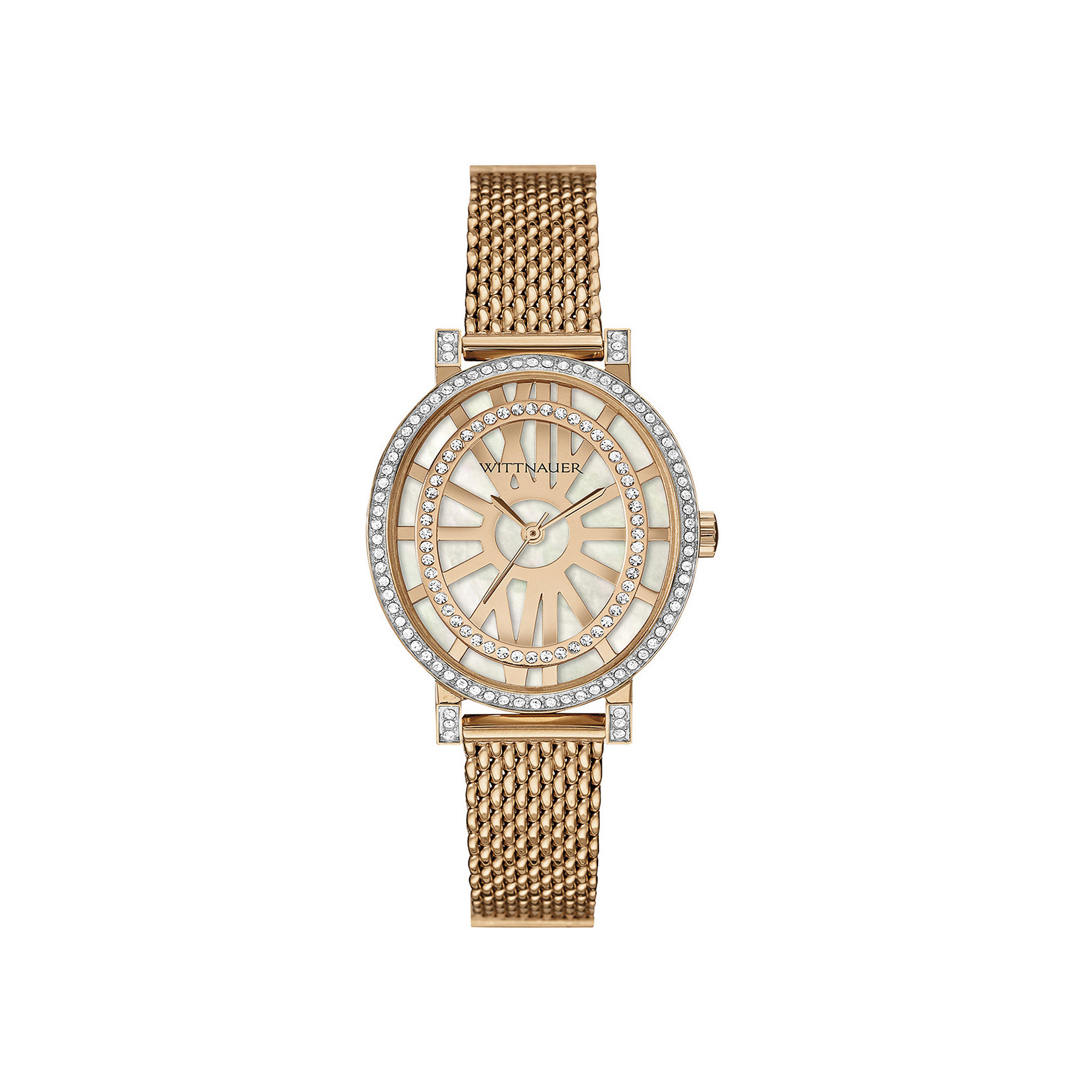 Wittnauer Womens Crystal-Accent Oval Rose-Tone Stainless Steel Mesh Watch WN4039