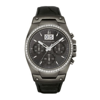 jcpenney.com | Wittnauer® Mens Crystal-Accent Gunmetal Dial Black Leather Strap Watch WN1012