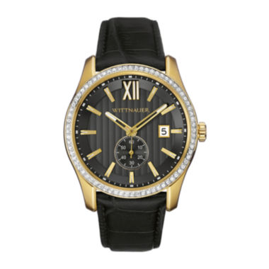 jcpenney.com | Wittnauer® Mens Crystal-Accent Black Leather Strap Watch WN1011