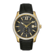 Wittnauer® Mens Crystal-Accent Black Leather Strap Watch WN1011