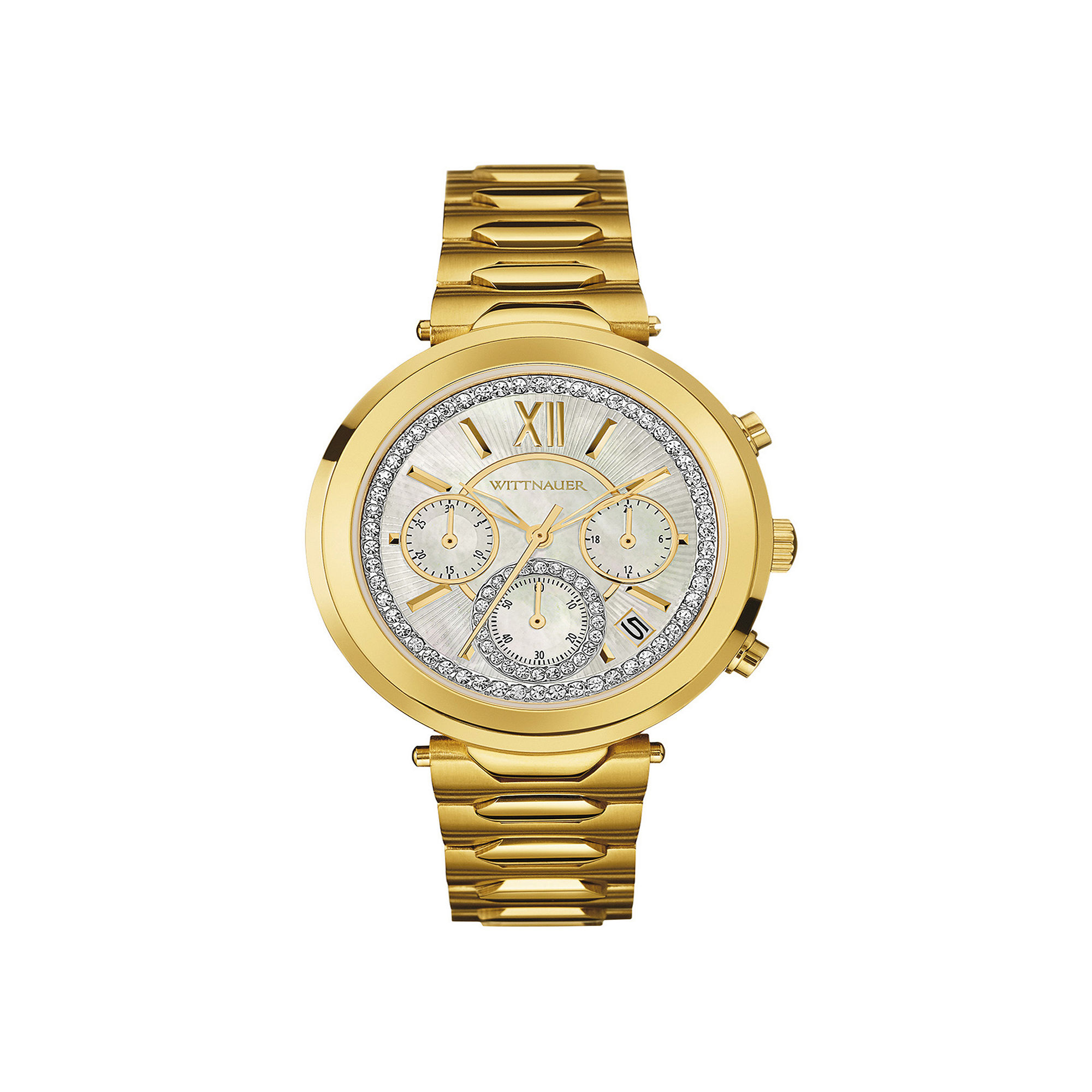 Wittnauer Womens Crystal-Accent Gold-Tone Stainless Steel Bracelet Watch WN4032