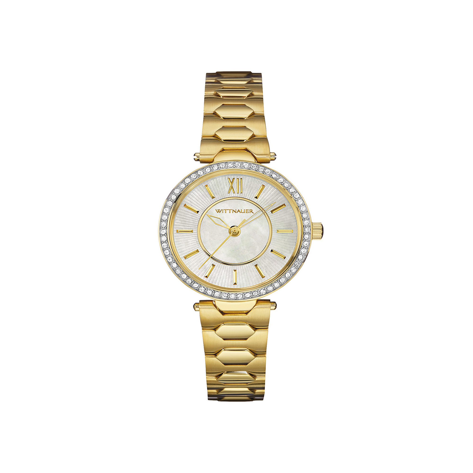 Wittnauer Womens Crystal-Accent Gold-Tone Stainless Steel Bracelet Watch WN4021