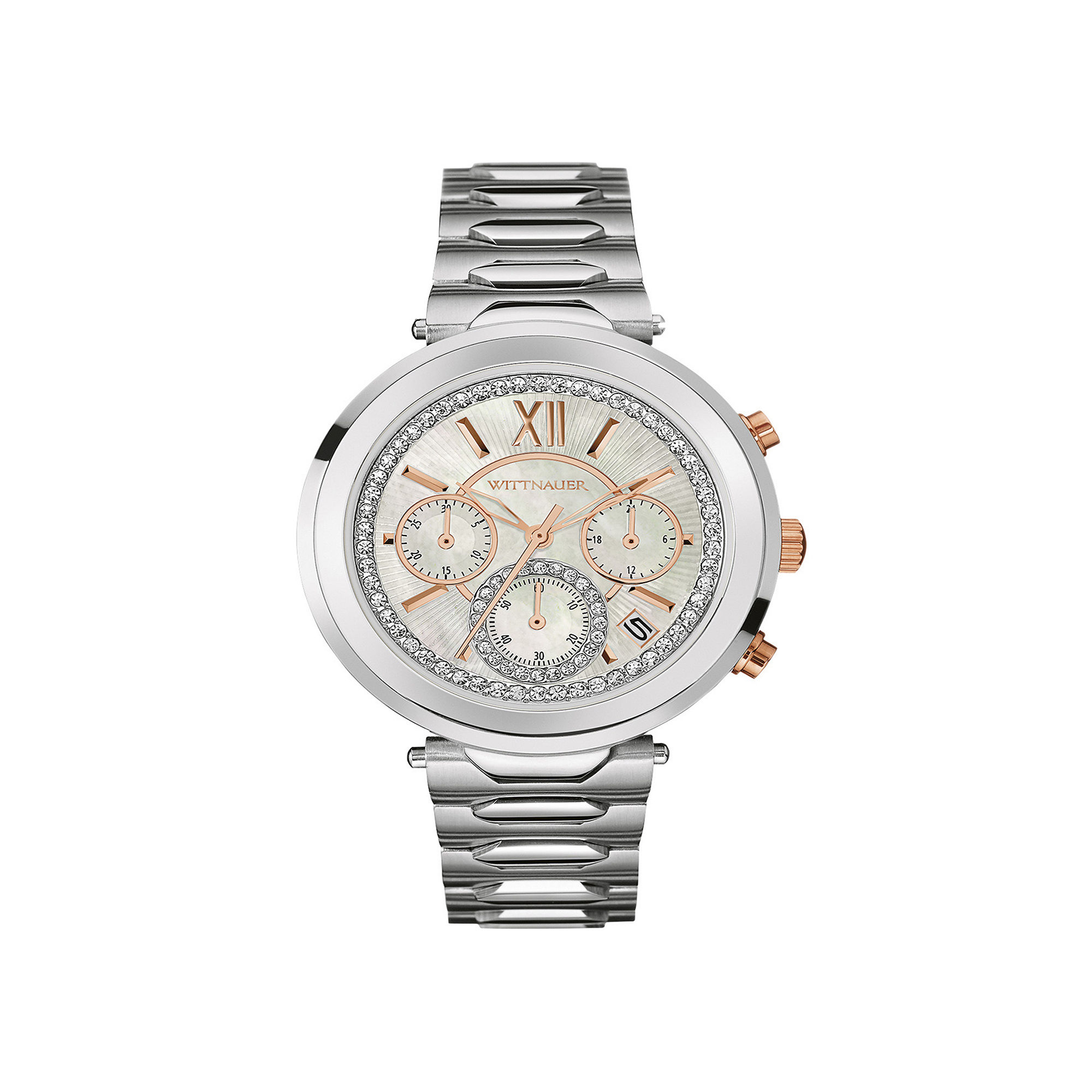 Wittnauer Womens Crystal-Accent Stainless Steel Bracelet Watch WN4029