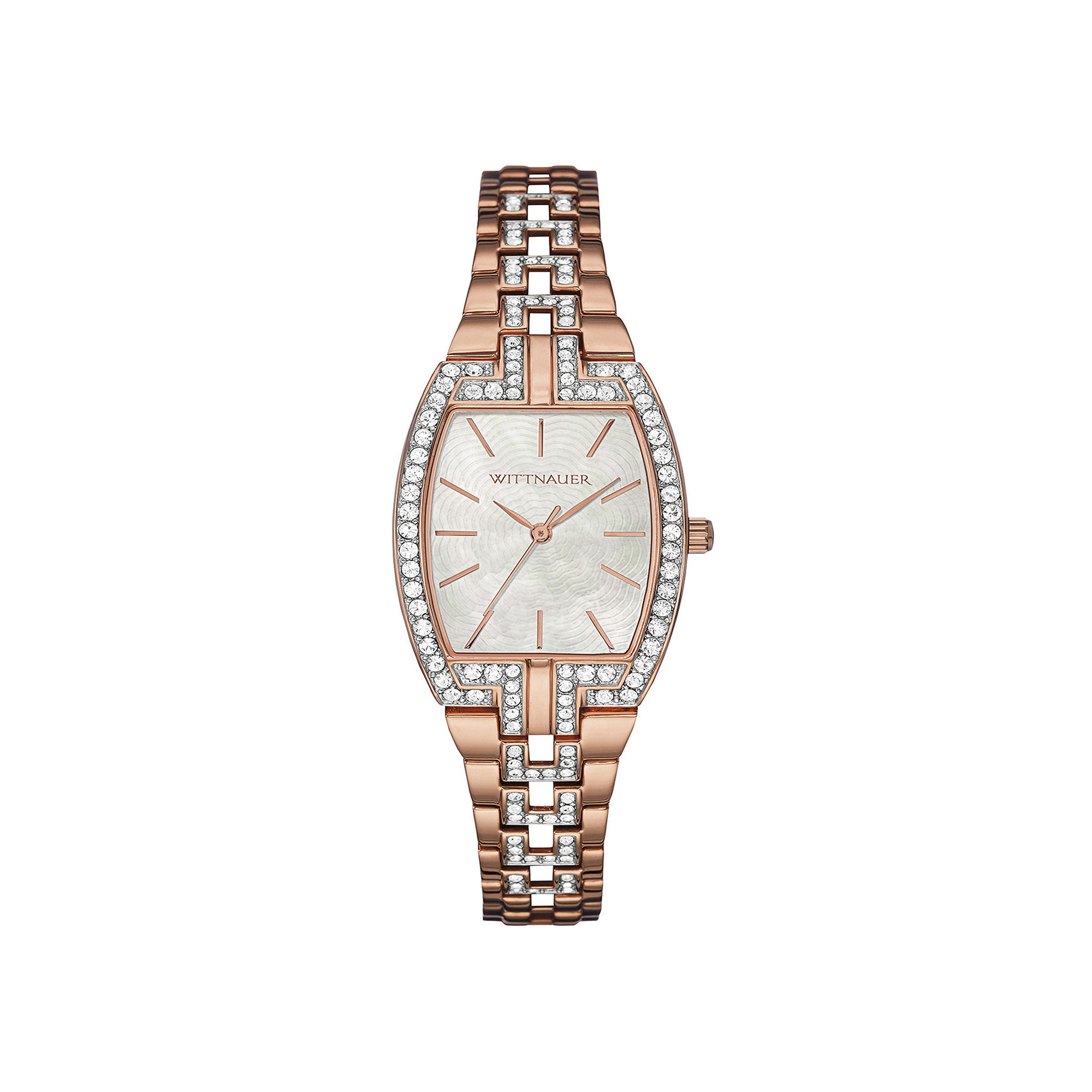 Wittnauer Womens Crystal-Accent Tonneau Rose-Tone Stainless Steel Bracelet Watch WN4018