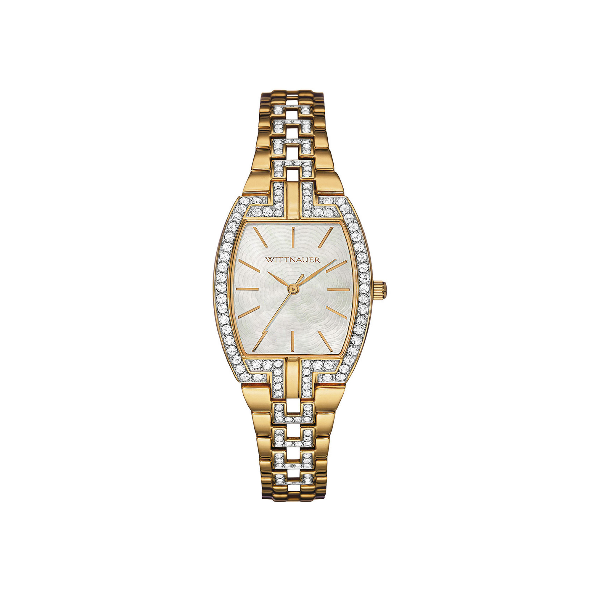 Wittnauer Womens Crystal-Accent Tonneau Gold-Tone Stainless Steel Bracelet Watch WN4017