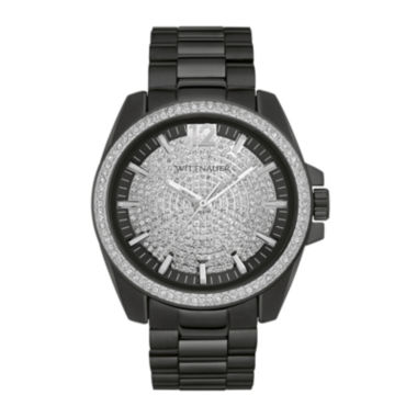 jcpenney.com | Wittnauer® Mens Crystal-Accent Black Stainless Steel Watch WN3057