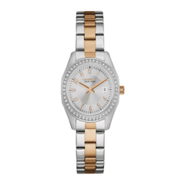 jcpenney.com | Caravelle New York® Womens Crystal-Accent Two-Tone Stainless Steel Watch 45M108