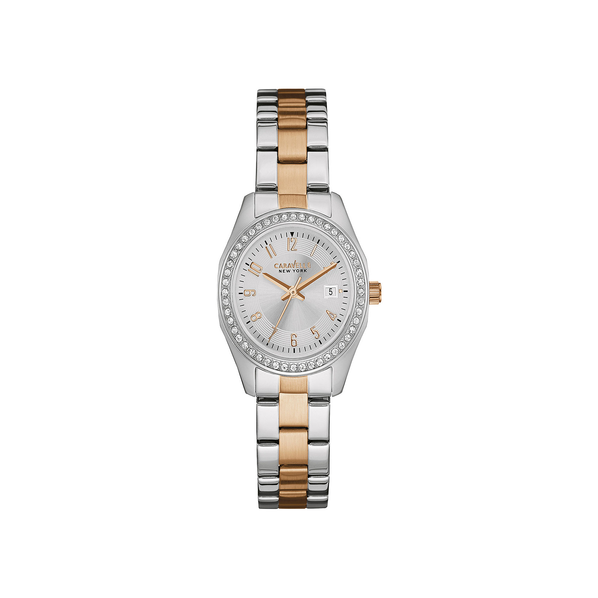 Caravelle New York Womens Crystal-Accent Two-Tone Stainless Steel Watch 45M108