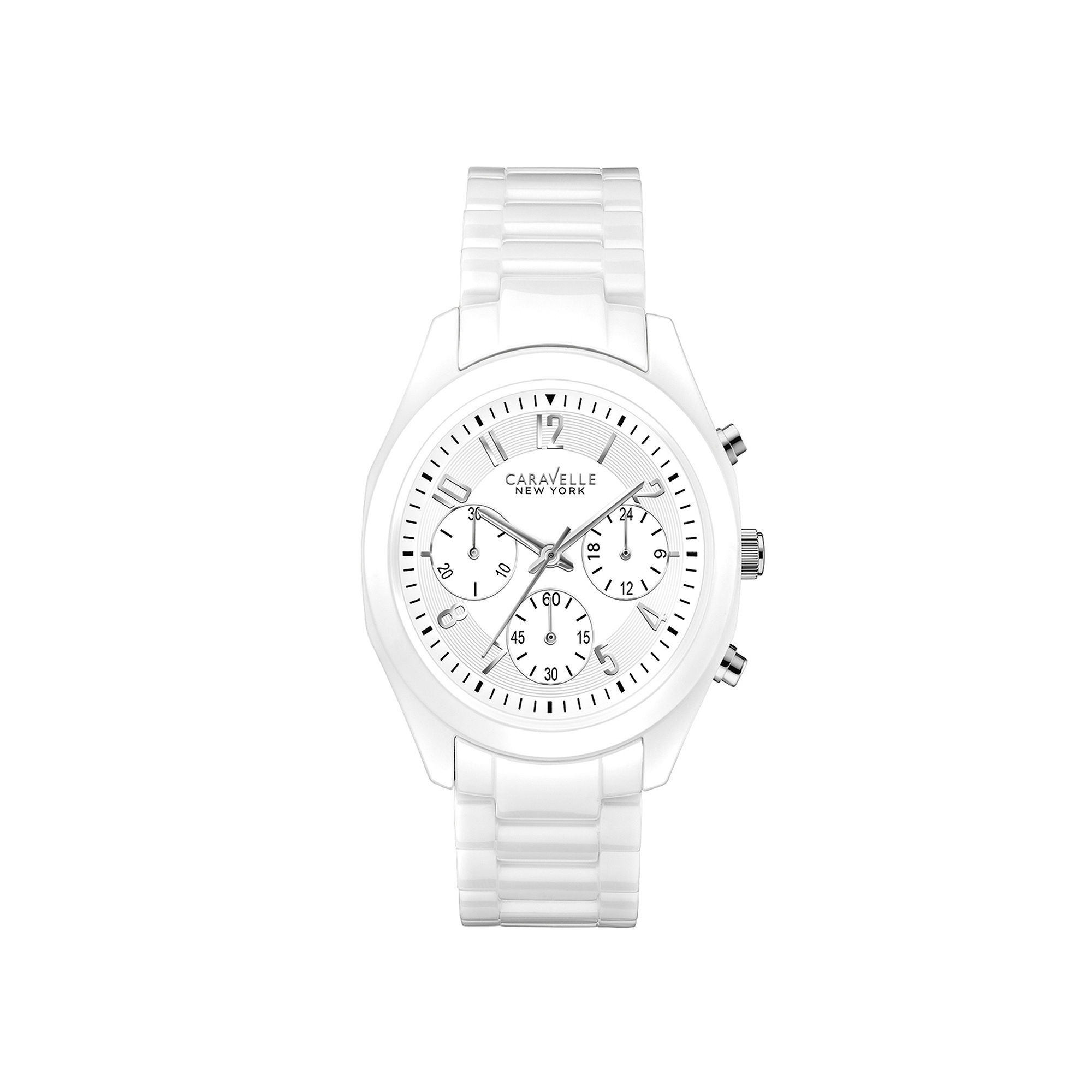 Caravelle New York Womens White Ceramic Chronograph Watch 45L145