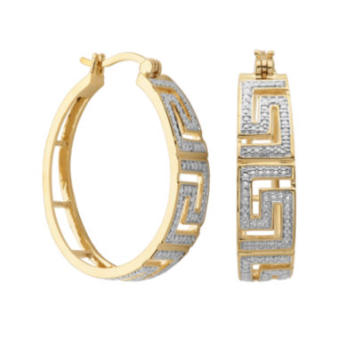 jcpenney.com | Classic Treasures™ Diamond-Accent Greek Key 20mm Hoop Earrings