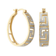 Classic Treasures™ Diamond-Accent Greek Key 20mm Hoop Earrings